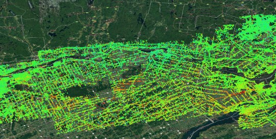 Ottawa Montreal corridor - ground and infrastructure displacement map 2015-2020